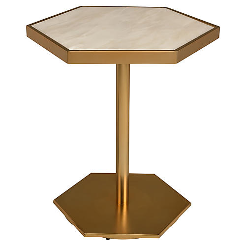 Ciarra Side Table, White/Gold