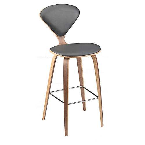 Satine Counter Stool, Gray Leather