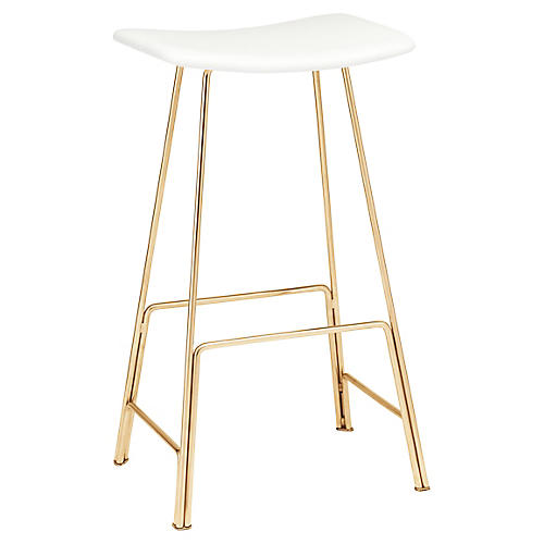 Kirsten Counter Stool, White Leather