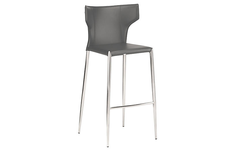 Wayne Counter Stool, Dark Gray Leather