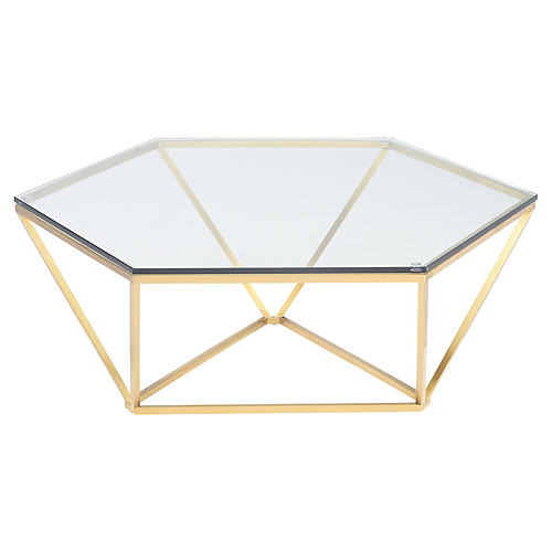 Louisa Coffee Table, Clear/Gold