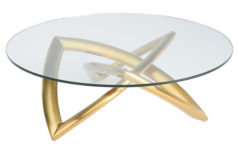Martina Coffee Table, Clear/Gold