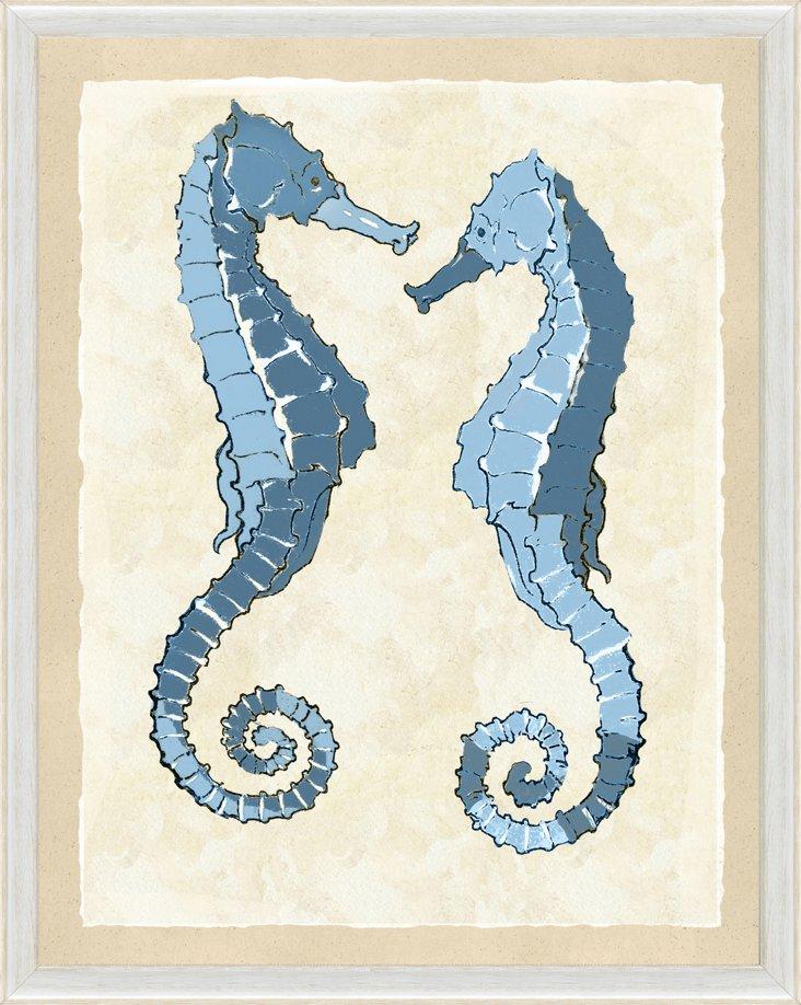 Blue Double Seahorse Print