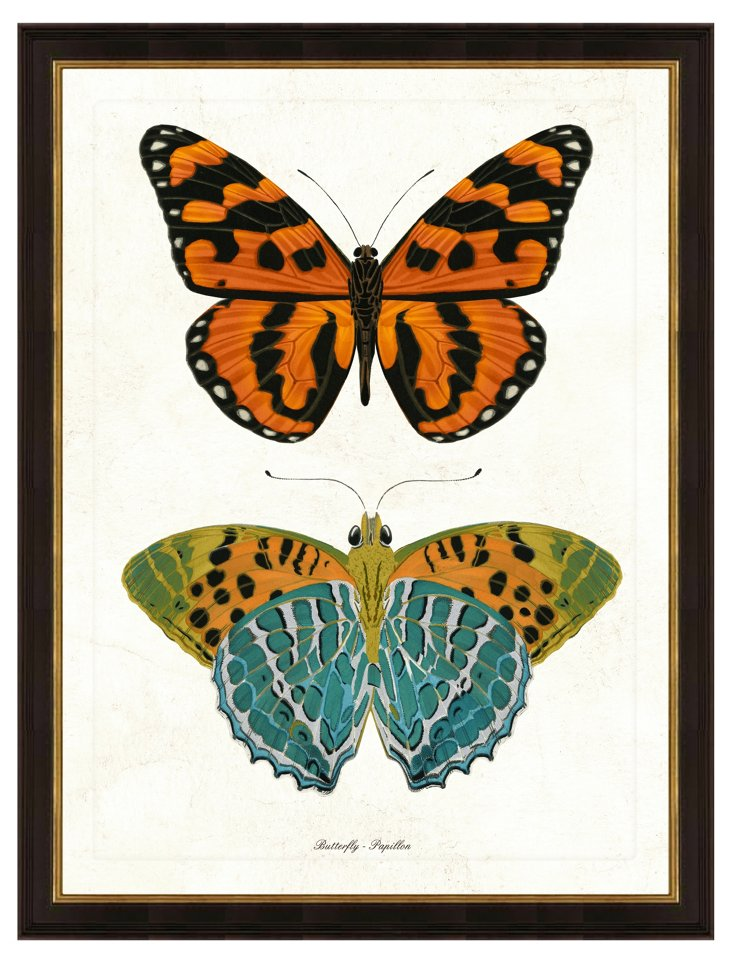 Black Framed Double Butterfly Print