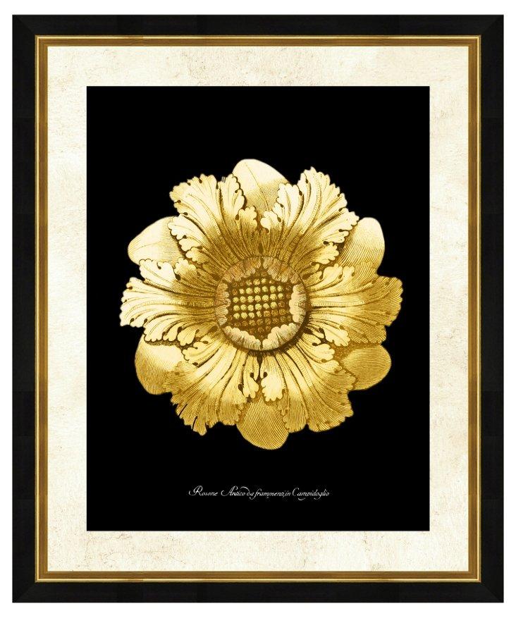 Gold & Black Rosette Print II