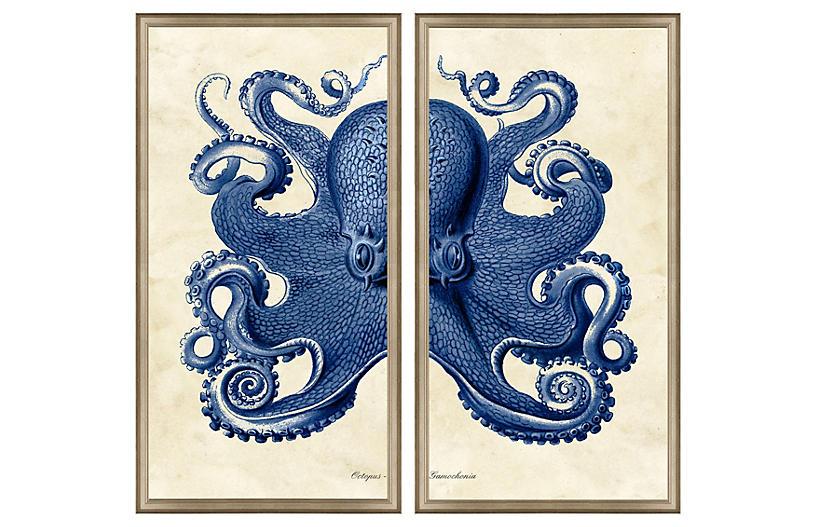 Navy Octopus Diptych