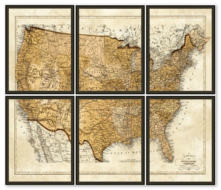 United States Map - Split in 6 Pieces