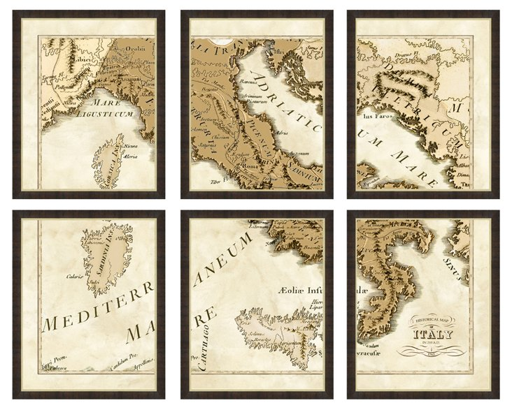6-Piece Map of Italy