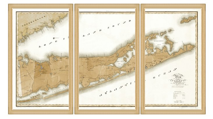 Map of Long Island Triptych