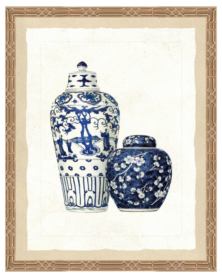 18x22, Blue Porcelain Print I
