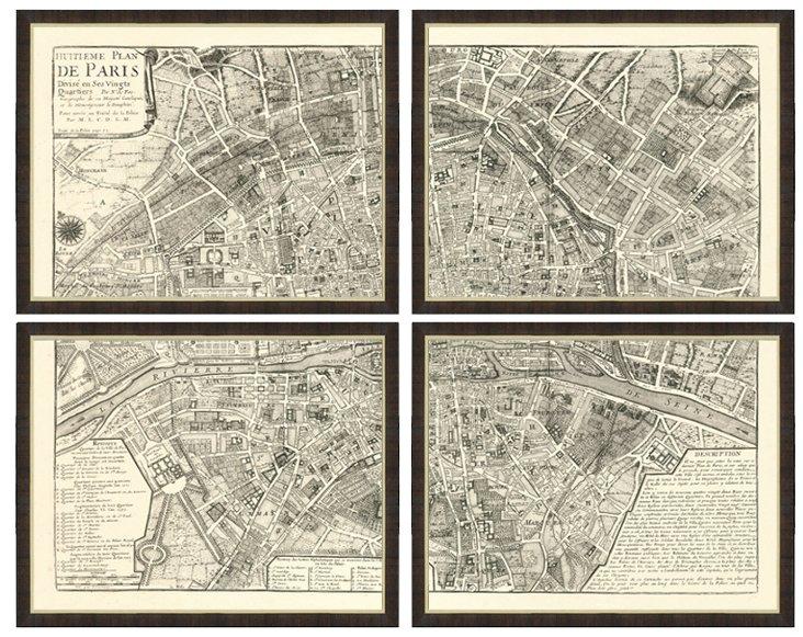 Black & White Map of Paris Quadriptych