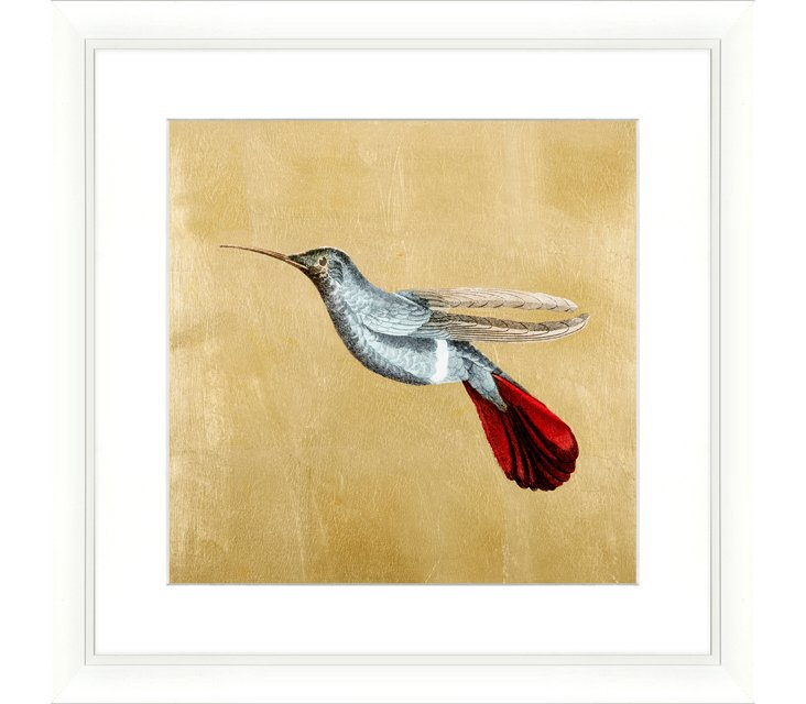 Hummingbird with Gold-Leaf Background
