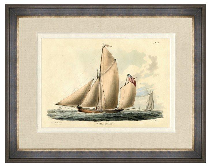 Black and Gold Framed Sailboat Print I