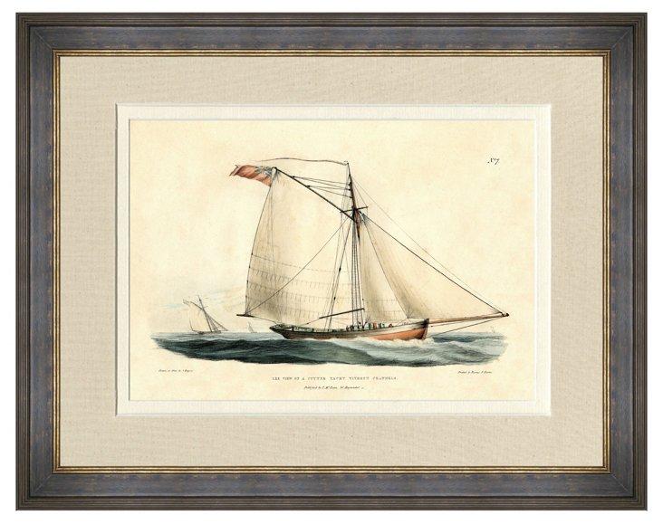 Black and Gold Framed Sailboat Print III