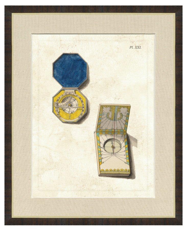 Contemporary Walnut Framed Compass Print