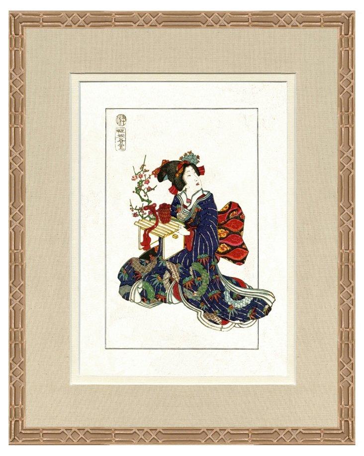 Ornate Silver Framed Japanese Print