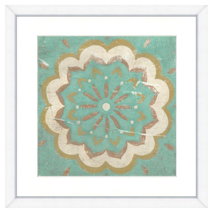Hand-Embellished Teal Tile Print I