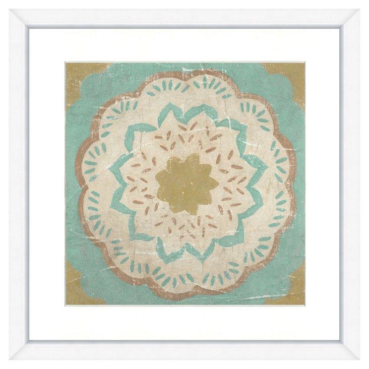 Hand-Embellished Teal Tile Print III