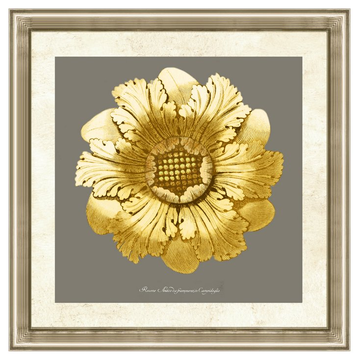 Gold and Gray Rosette II
