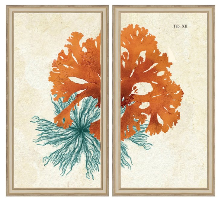 Teal and Orange Coral Diptych