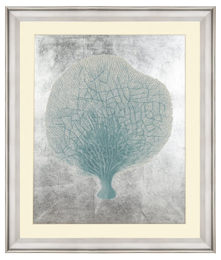 Blue Coral I with Silver-Leaf Background