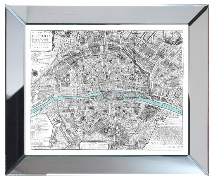 Mirror Framed Gray and Blue Paris Map