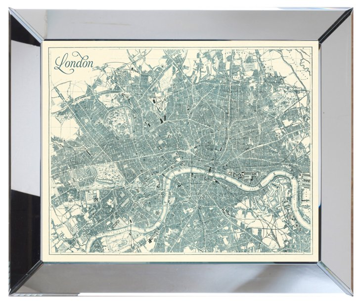 Mirror Framed Teal London Map