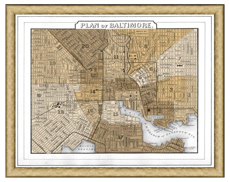 Sepia Baltimore Map