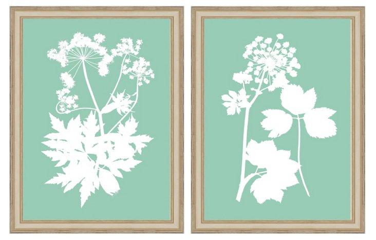 Teal Nature Print Set