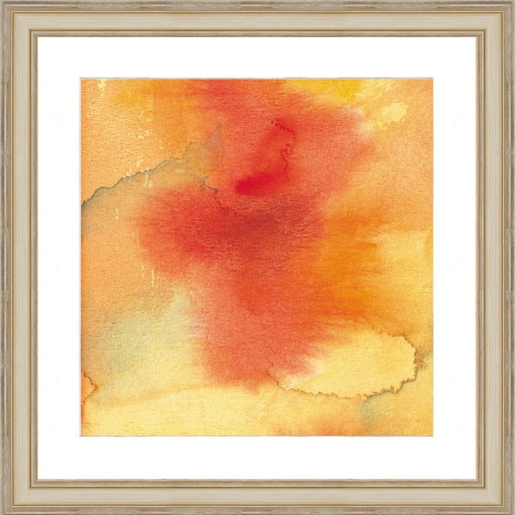 Watercolor Orange Abstract Print I