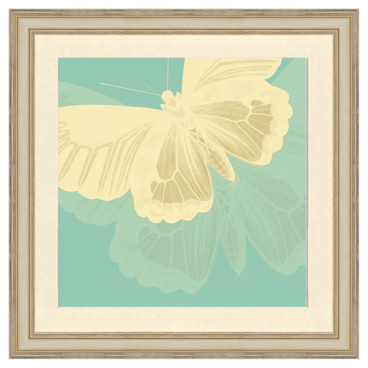 Teal and Cream Butterfly Print I