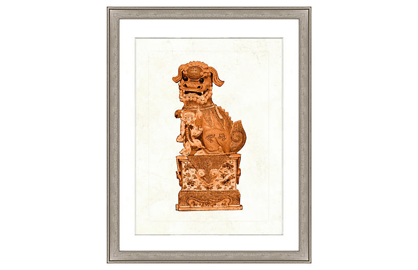 Orange Foo Dog Print I