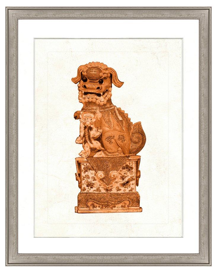 Orange Foo Dog Print I
