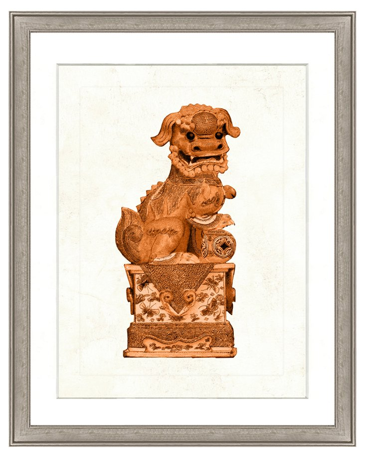 Orange Foo Dog Print II