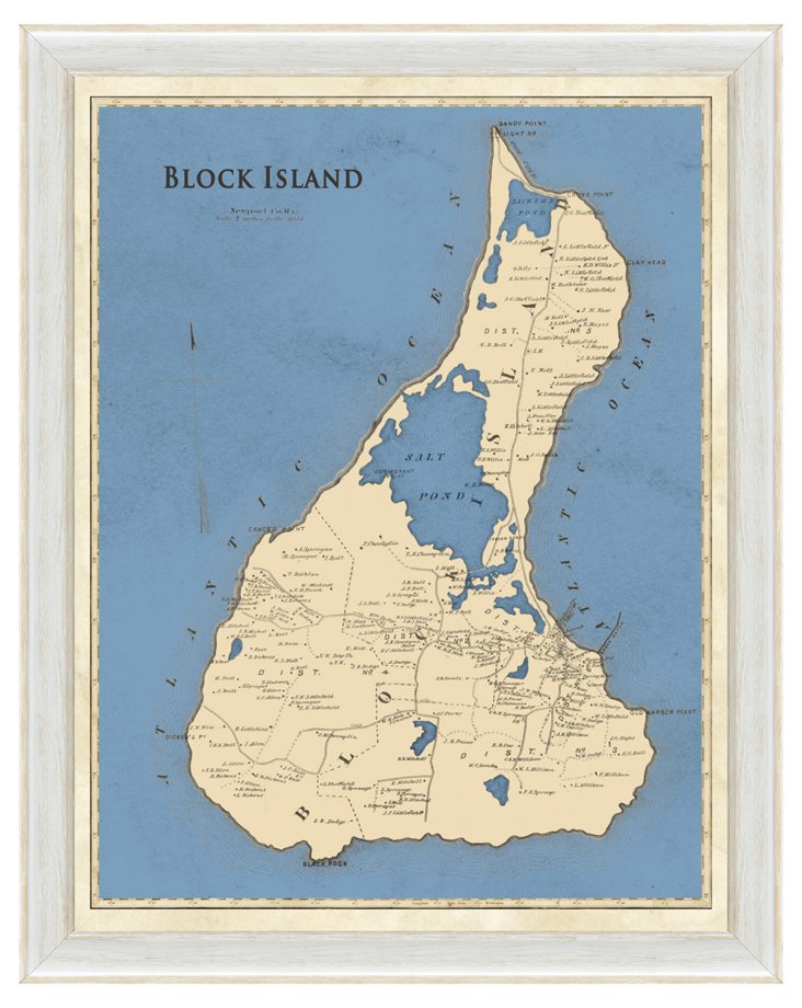Blue Block Island Map