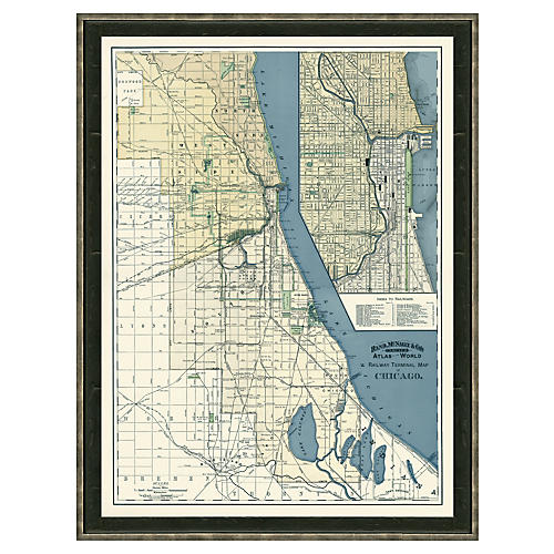 Blue-Toned Chicago Map