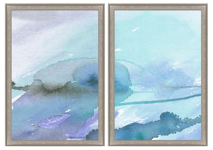 Blue-Toned Watercolor Diptych