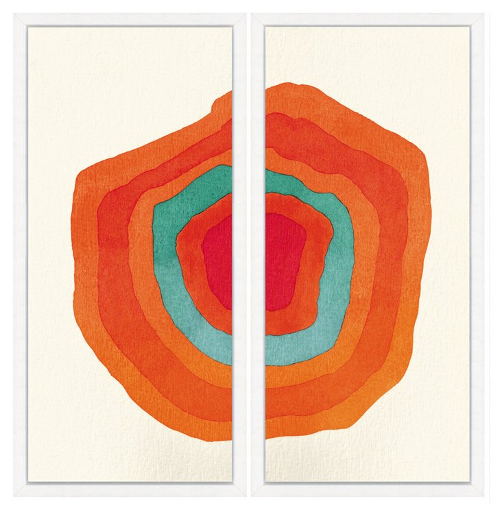 Orange and Teal Watercolor Diptych