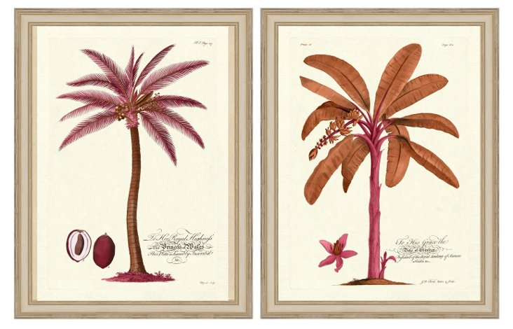 Pink Palm Tree Print Diptych