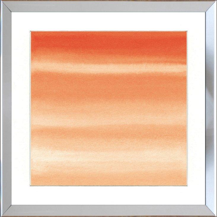 Silver Framed Orange Watercolor Print