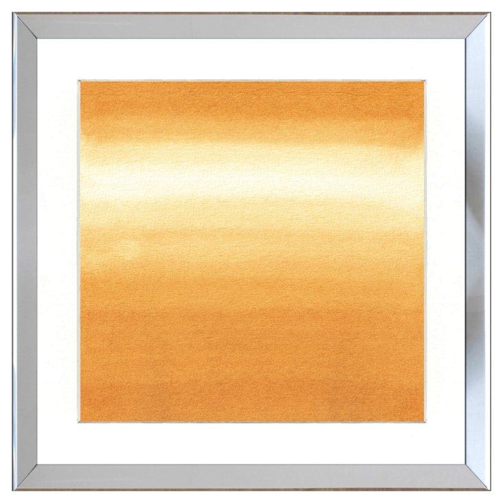 Silver Framed Golden Watercolor Print