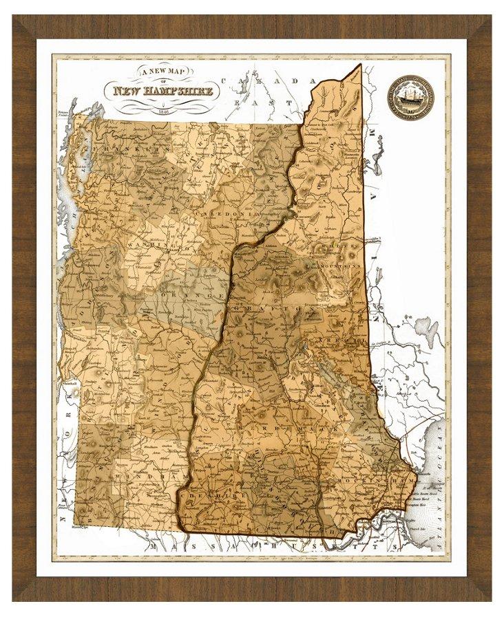 Sepia New Hampshire Map