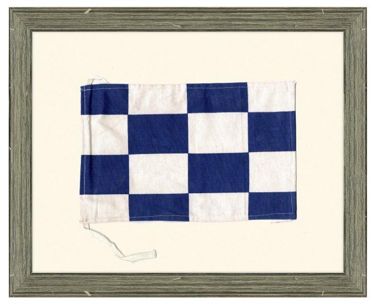"Framed Cotton Maritime Signal Flag, ""N"""