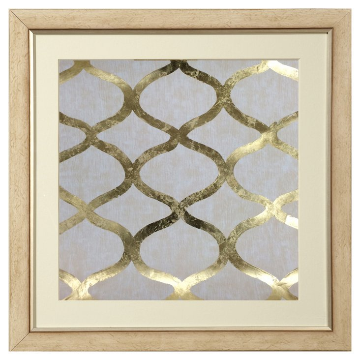Real Gold-Leaf Cream Geometric Print IV
