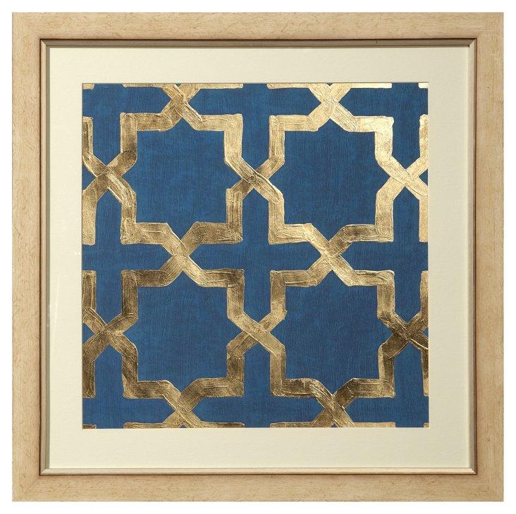 Real Gold-Leaf Blue Geometric Print I