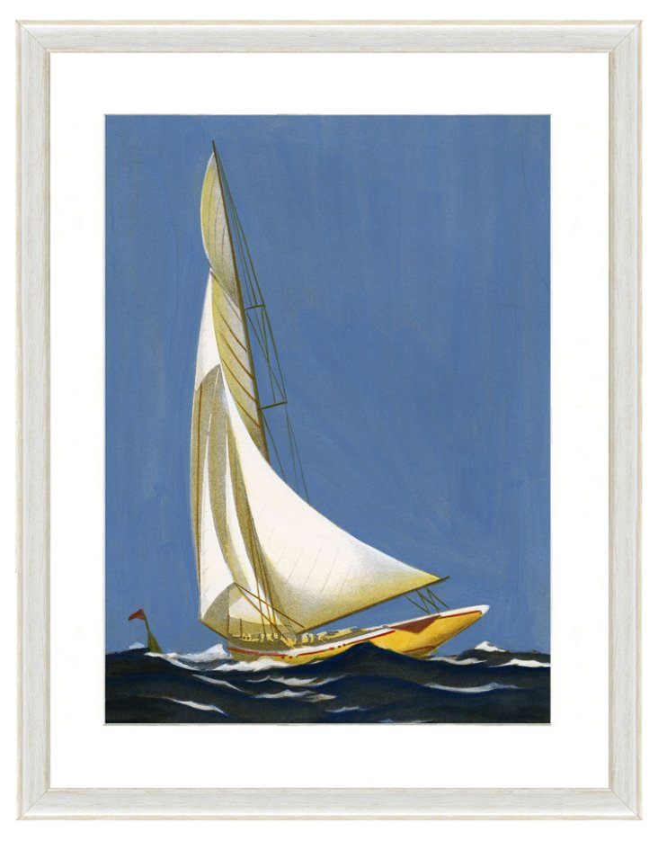 Blue Sailboat Print I