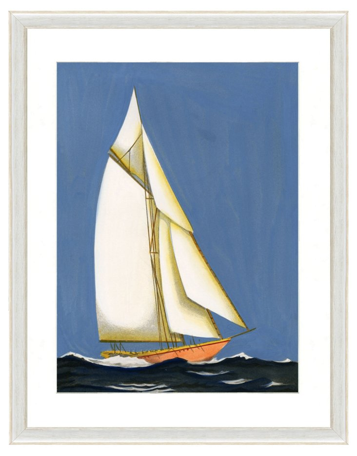 Blue Sailboat Print II