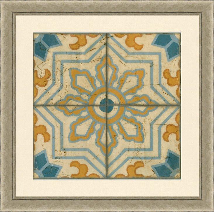 Hand Embellished Tile Print IV