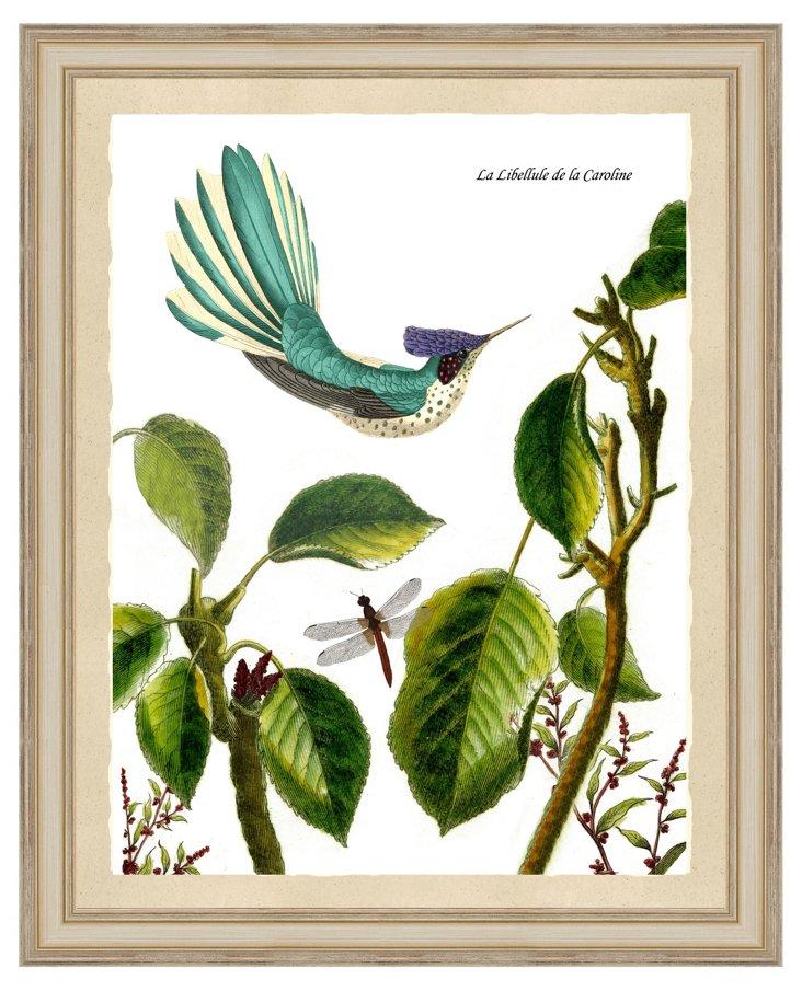 Teal Garden Scene Print I