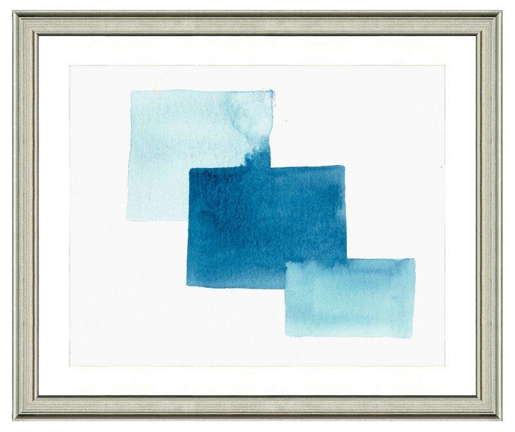 Blue Watercolor Geometric Print